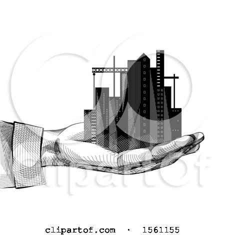 Clipart of a Sketched Hand Holding a City - Royalty Free Vector Illustration by BNP Design Studio