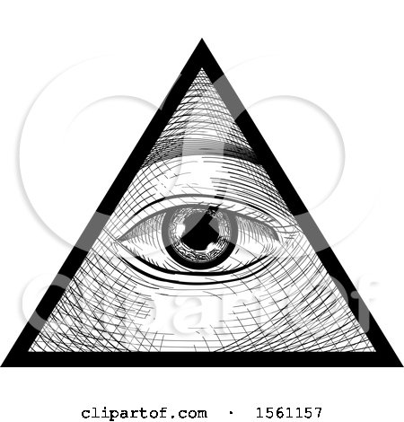 Clipart of a Sketched Third Eye Inside a Triangle - Royalty Free Vector Illustration by BNP Design Studio