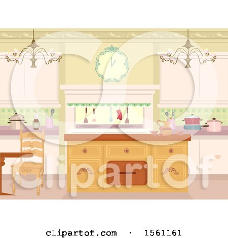 Clipart of a Victorian Themed Kitchen Interior - Royalty Free Vector Illustration by BNP Design Studio