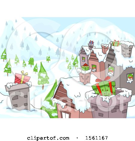 Clipart of a Christmas Village with Gifts on the Roof Tops - Royalty Free Vector Illustration by BNP Design Studio