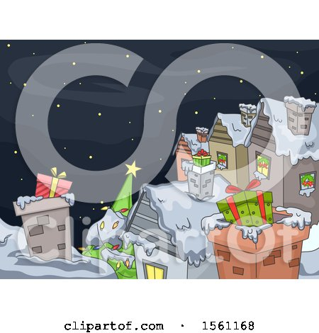 Clipart of a Wintry Christmas Village Under a Starry Sky, with Gifts on the Roof Tops - Royalty Free Vector Illustration by BNP Design Studio