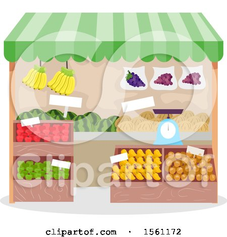 Clipart of a Produce Stand - Royalty Free Vector Illustration by BNP Design Studio