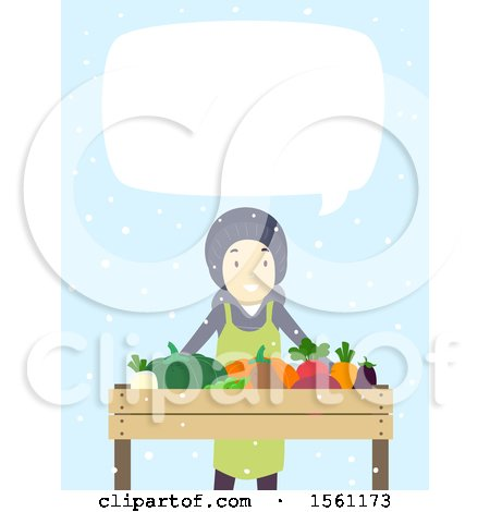 Clipart of a Happy Man Selling Produce and Talking at a Winter Farmers Market, over Blue with Snow - Royalty Free Vector Illustration by BNP Design Studio