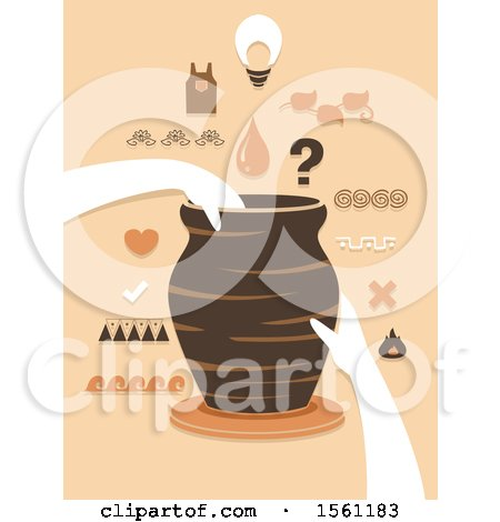 Clipart of Hands Holding a Jar on a Pottery Wheel with Different Design Elements - Royalty Free Vector Illustration by BNP Design Studio