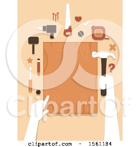Clipart of Hands Holding a Hammer and Wood Board for Woodworking - Royalty Free Vector Illustration by BNP Design Studio