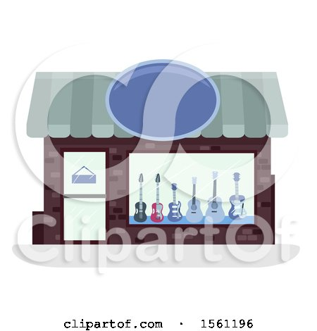 Clipart of a Guitar Store Front - Royalty Free Vector Illustration by BNP Design Studio