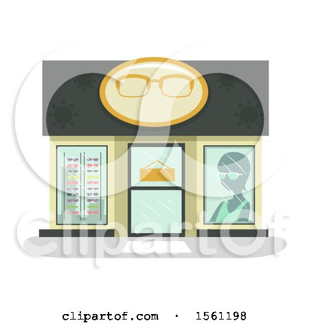 Clipart of a Glasses Store Front - Royalty Free Vector Illustration by BNP Design Studio