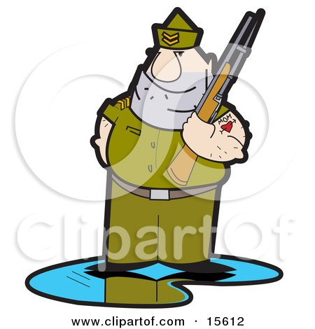Tough Drill Sergeant In Uniform, Holding A Gun And Sporting Mom Heart Tattoo On His Arm Clipart Illustration by Andy Nortnik