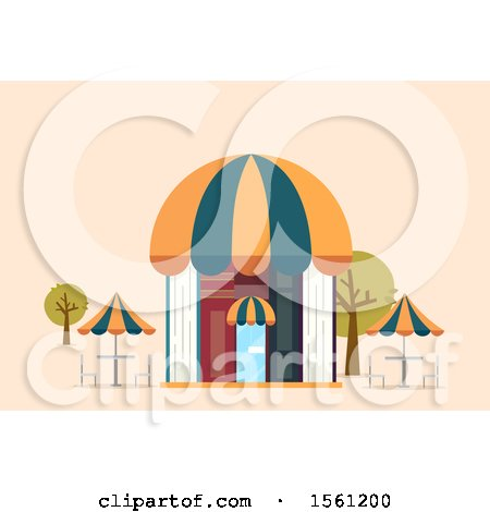 Clipart of a Book Cafe Building with Outdoor Seating - Royalty Free Vector Illustration by BNP Design Studio