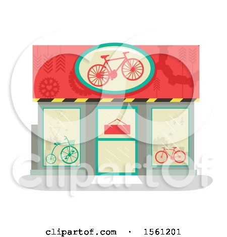 Clipart of a Bike Shop Store Front - Royalty Free Vector Illustration by BNP Design Studio
