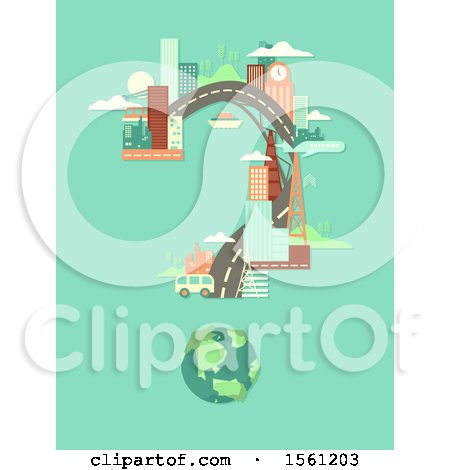 Clipart of a Question Mark Formed of Urban Architecture - Royalty Free Vector Illustration by BNP Design Studio