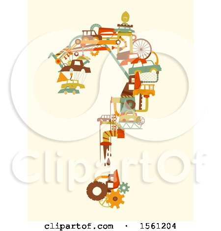 Clipart of a Question Mark Formed of Junkjard Items - Royalty Free Vector Illustration by BNP Design Studio