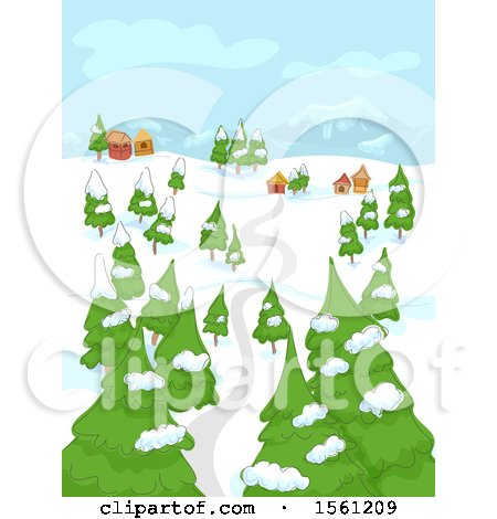 Clipart of a Road Leading to a Village in a Winter Landscape - Royalty Free Vector Illustration by BNP Design Studio