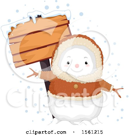 Clipart of a Bundled Eskimo Snowman with a Blank Wood Sign - Royalty Free Vector Illustration by BNP Design Studio