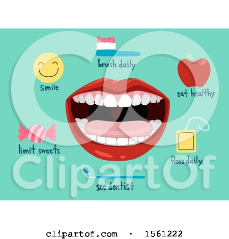 Clipart of a Mouth with Dental Icons - Royalty Free Vector Illustration by BNP Design Studio