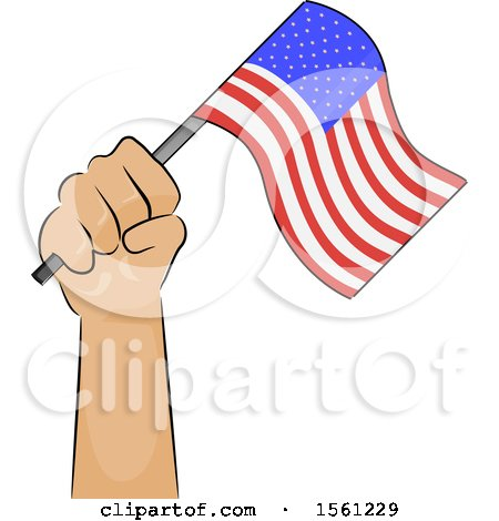Clipart of a Hand Holding up an American Flag - Royalty Free Vector Illustration by BNP Design Studio