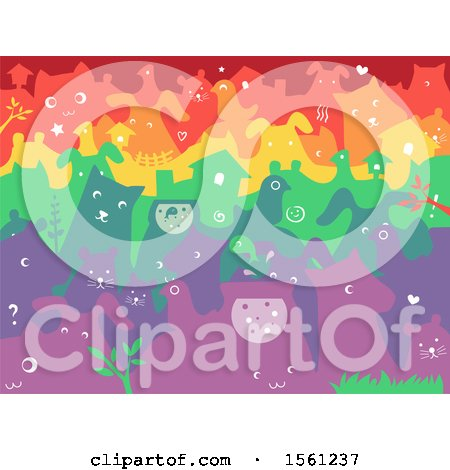Clipart of a Colorful Background of Pets - Royalty Free Vector Illustration by BNP Design Studio
