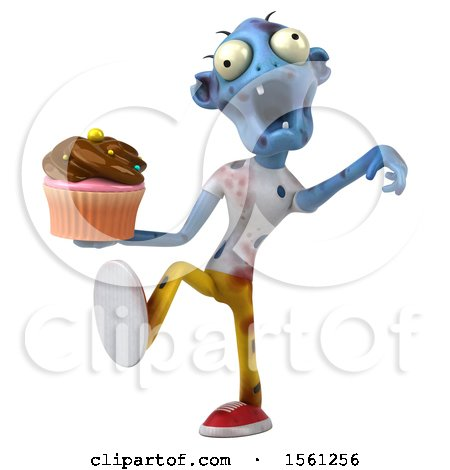 Clipart of a 3d Blue Zombie Holding a Cupcake, on a White Background - Royalty Free Illustration by Julos