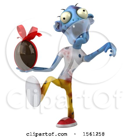Clipart of a 3d Blue Zombie Holding a Chocolate Egg, on a White Background - Royalty Free Illustration by Julos