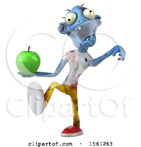 Clipart of a 3d Blue Zombie Holding an Apple, on a White Background - Royalty Free Illustration by Julos