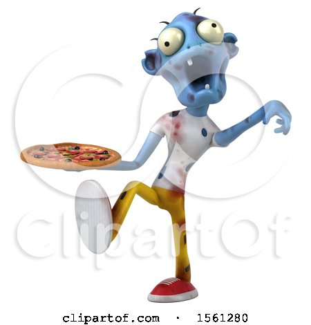 Clipart of a 3d Blue Zombie Holding a Pizza, on a White Background - Royalty Free Illustration by Julos