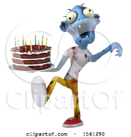 Clipart of a 3d Blue Zombie Holding a Birthday Cake, on a White Background - Royalty Free Illustration by Julos