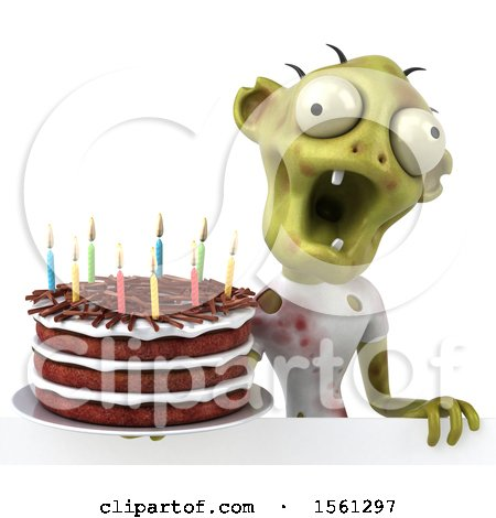 Clipart of a 3d Zombie Holding a Birthday Cake, on a White Background - Royalty Free Vector Illustration by Julos