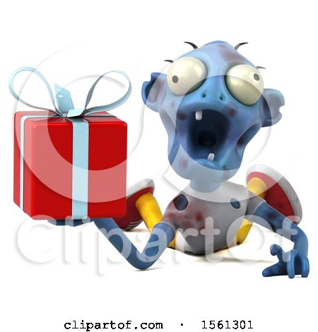 Clipart of a 3d Blue Zombie Holding a Gift, on a White Background - Royalty Free Illustration by Julos