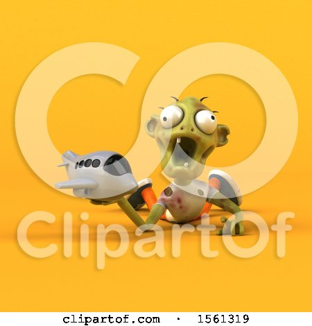Clipart of a 3d Zombie Holding a Plane, on a Yellow Background - Royalty Free Illustration by Julos