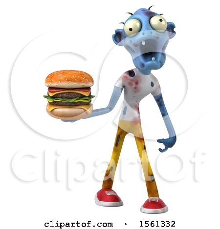 Clipart of a 3d Blue Zombie Holding a Burger, on a White Background - Royalty Free Illustration by Julos
