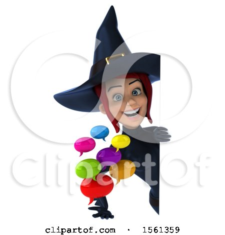 Clipart of a 3d Sexy Blue Witch Holding Messages, on a White Background - Royalty Free Illustration by Julos