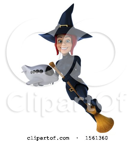 Clipart of a 3d Sexy Blue Witch Holding a Plane, on a White Background - Royalty Free Illustration by Julos