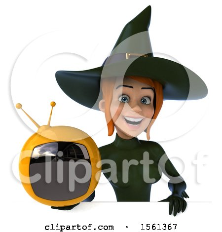 Clipart of a 3d Sexy Green Witch Holding a Tv, on a White Background - Royalty Free Illustration by Julos