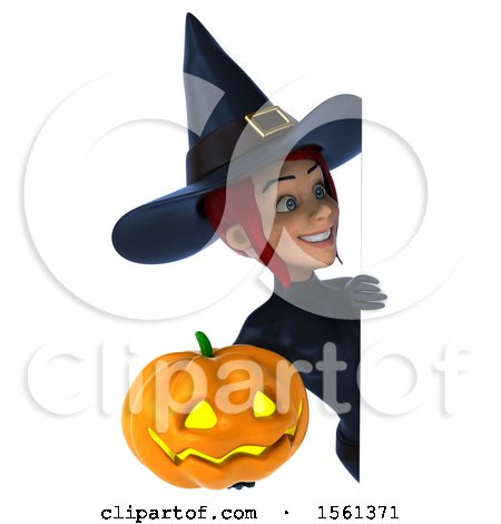 Clipart of a 3d Sexy Blue Witch Holding a Jackolantern, on a White Background - Royalty Free Illustration by Julos