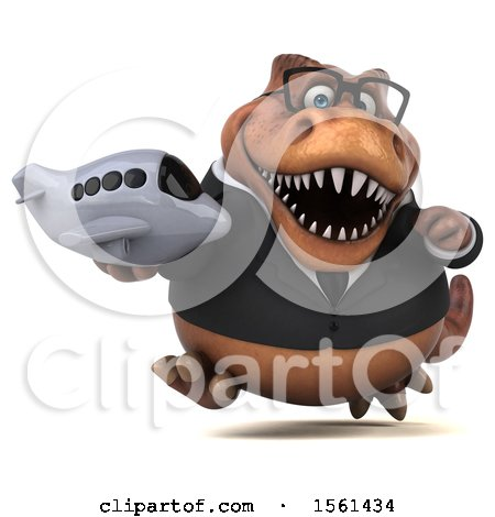 Clipart of a 3d Brown Business T Rex Dinosaur Holding a Plane, on a White Background - Royalty Free Illustration by Julos