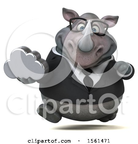 Clipart of a 3d Business Rhinoceros Holding a Cloud, on a White Background - Royalty Free Illustration by Julos