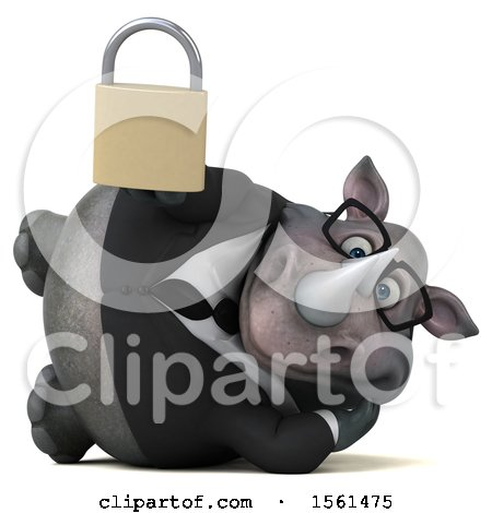 Clipart of a 3d Business Rhinoceros Holding a Padlock, on a White Background - Royalty Free Illustration by Julos