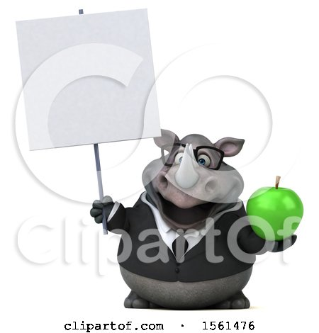 Clipart of a 3d Business Rhinoceros Holding an Apple, on a White Background - Royalty Free Illustration by Julos