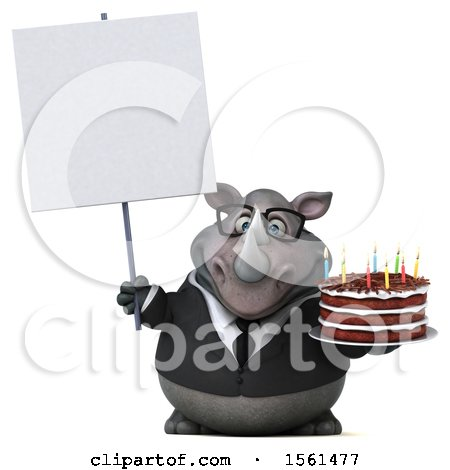 Clipart of a 3d Business Rhinoceros Holding a Birthday Cake, on a White Background - Royalty Free Illustration by Julos