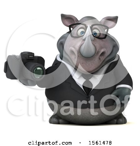 Clipart of a 3d Business Rhinoceros Holding a Camera, on a White Background - Royalty Free Illustration by Julos