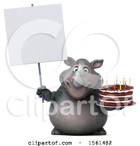 Clipart of a 3d Rhino Holding a Birthday Cake, on a White Background - Royalty Free Vector Illustration by Julos