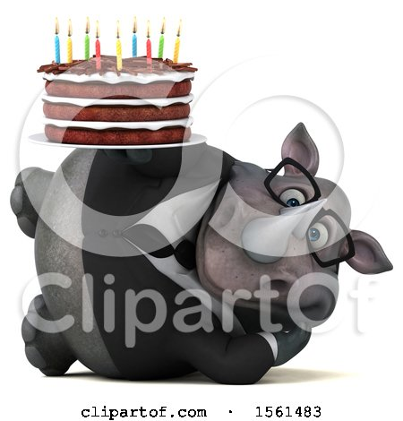 Clipart of a 3d Business Rhino Holding a Birthday Cake, on a White Background - Royalty Free Vector Illustration by Julos