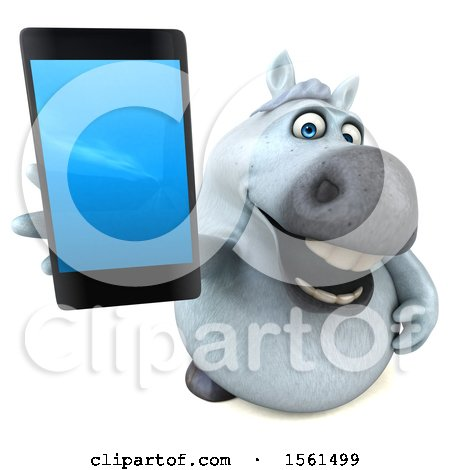 Clipart of a 3d Chubby White Horse Holding a Cell Phone, on a White Background - Royalty Free Illustration by Julos