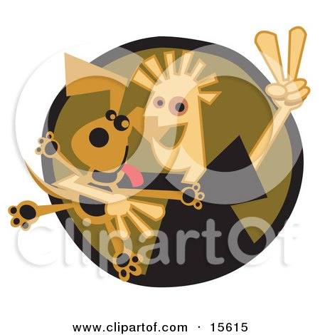 Happy Boy Flashing A Peace Sign While Hugging His Dog Clipart Illustration by Andy Nortnik