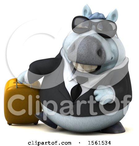 Clipart of a 3d Chubby White Business Horse Traveling, on a White Background - Royalty Free Illustration by Julos