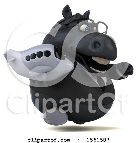 Clipart of a 3d Chubby Black Business Horse Holding a Plane, on a White Background - Royalty Free Illustration by Julos