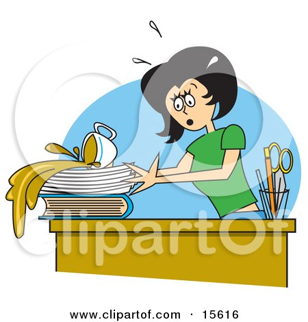 Clumsy Woman Spilling A Cup Of Coffee All Over Important Paperwork On Her Desk At The Office Clipart Illustration by Andy Nortnik