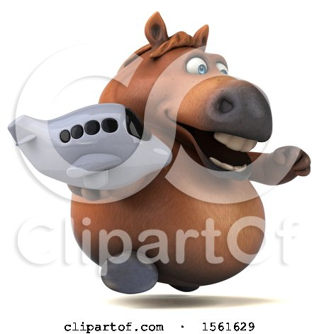 Clipart of a 3d Chubby Brown Horse Holding a Plane, on a White Background - Royalty Free Illustration by Julos