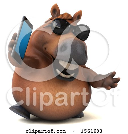 Clipart of a 3d Chubby Brown Horse Holding a Cell Phone, on a White Background - Royalty Free Illustration by Julos
