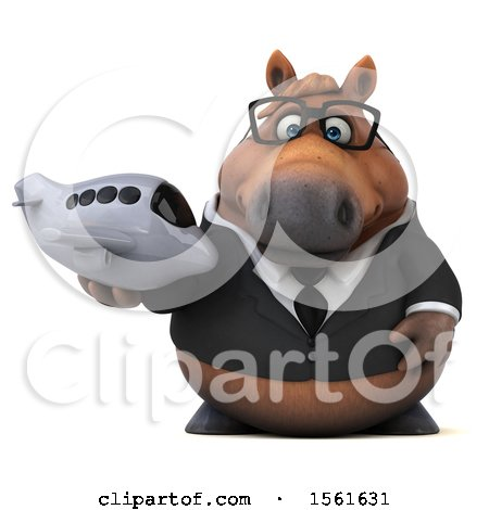 Clipart of a 3d Chubby Brown Business Horse Holding a Plane, on a White Background - Royalty Free Illustration by Julos